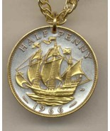 "British ½ penny ""Sailing ship""  gold on silver coin  jewelry pendant ne... - $52.00"
