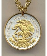 Mexican 10 centavo Gold on Silver Coin  Jewelry Pendant Necklace - $52.00