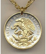 "Mexican 20 centavo ""Eagle""  gold on silver coin pendant necklace - $55.00"