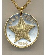 "Bahamas 1 cent ""Star fish"" coin pendant & 14K necklace - $45.00"