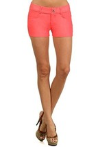 Fashion Mic Womens Casual Summer Stretchy Cotton Blend Shorts (S/M, coral) - $16.82