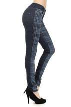 Fashion MIC 2 Tone with Houndstooth Plaid Fashion Pants (medium, blue) [... - $27.71