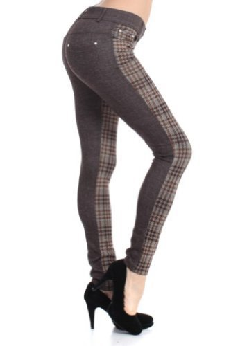 Fashion MIC 2 Tone with Houndstooth Plaid Fashion Pants (medium, coffee) - $27.71