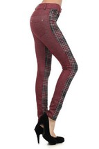 Fashion MIC 2 Tone with Houndstooth Plaid Fashion Pants (large, wine red) - $27.71