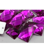 18x13mm Fuchsia CH21 Rectangular Flat Back Sew On Beads for Crafts - 45 ... - $5.49