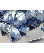 18x13mm Sapphire - Lt. CH02 Rectangular Flat Back Sew On Beads for Craft... - $5.49