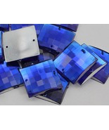 16mm Sapphire CH09 Square Flat Back Sew On Beads for Crafts - 40 Pieces - $5.44