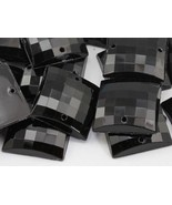 16mm Jet Black CH37 Square Flat Back Sew On Beads for Crafts - 40 Pieces - $5.44