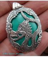 925 Silver Dragon & Turquoise Pendant SP-344 -DG - $39.01