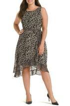 Sandra Darren Mixed Leopard Print Chiffon Dress 14 Black Ruffle NO BELT N13 - $14.43
