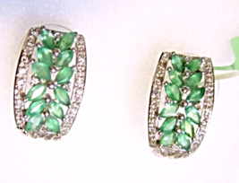 African Green Emerald Marquise & White Topaz J-Hoop Earrings, Silver, 2.02(TCW) - $89.99