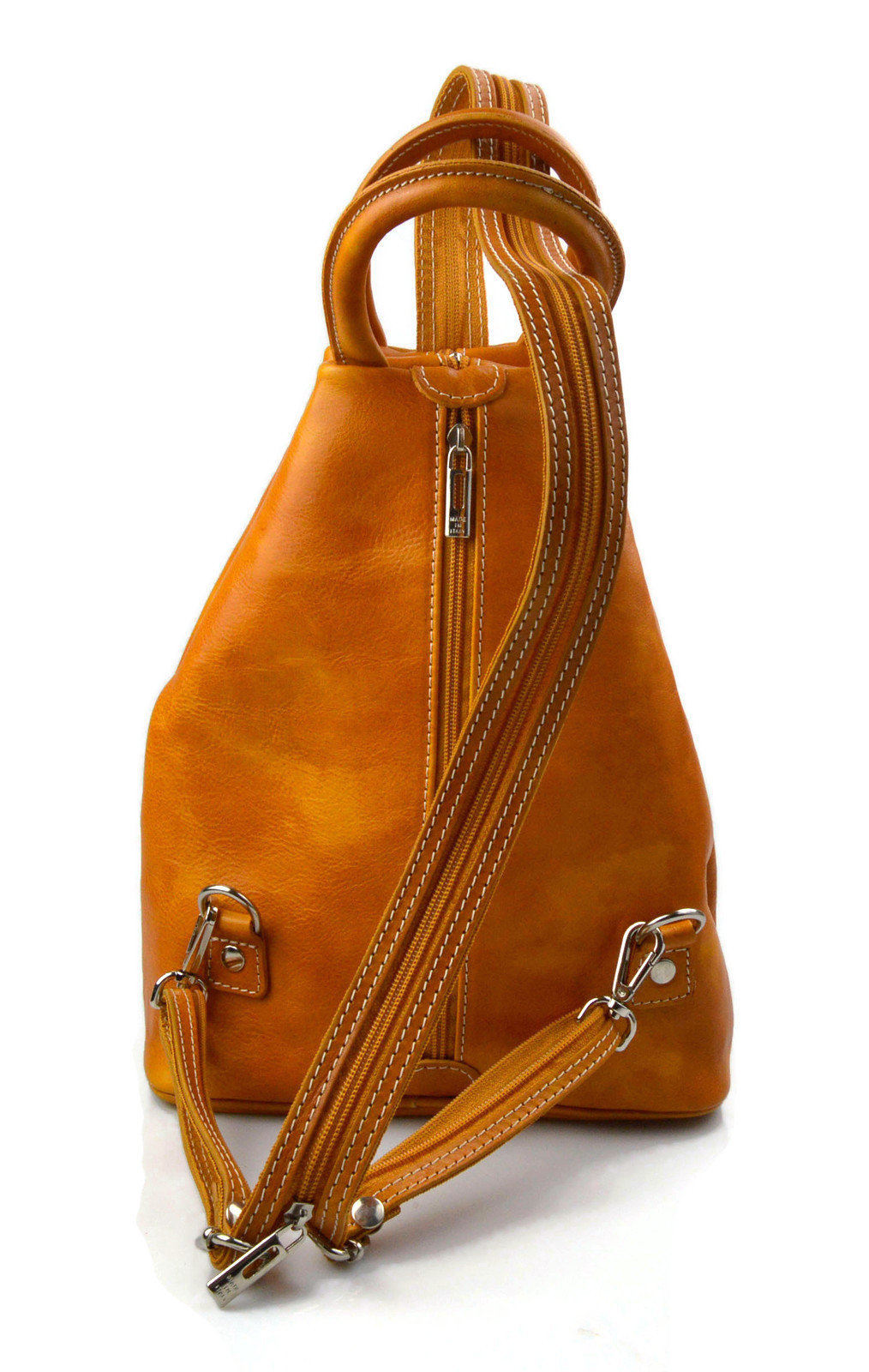 Leather backpack women men yellow travel bag weekender sports bag small backpack image 5