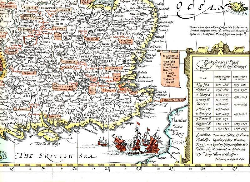 Shakespeare's Britain - Wall Map ( copy right 1964)