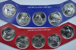 2014 P & D America the Beautiful uncirculated quarters in mint cello  - $14.50