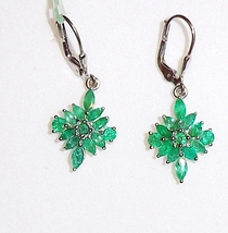 African Green Emerald Marquise & Round Dangle Earrings, Sterling Silver, 2.50TCW - $80.99