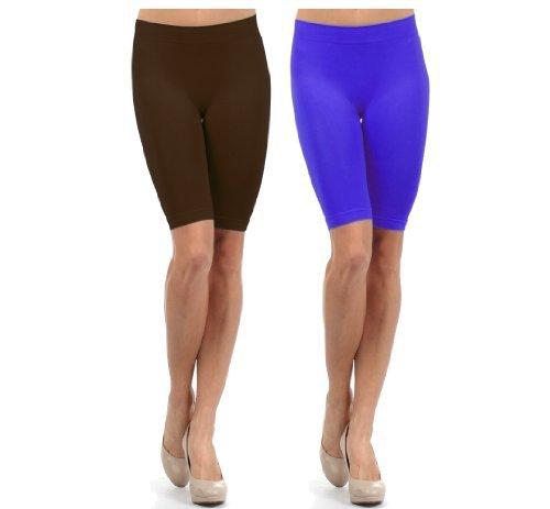 Fashion Mic Women Girls Seamless Slip Short (One Size, 2 pack: brow... - $10.88