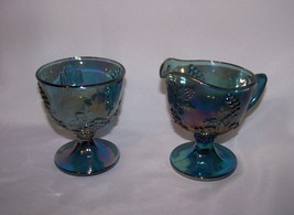 Indiana Glass Blue Carnival Harvest Grape Cream... - $18.00