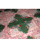 Log Cabin Quilt Coverlet Bedding Full/Queen Floral Pink and Dark Green - $200.00