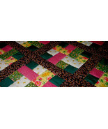 Rail Fence Pattern Quilt Full/Queen Green Burgundy Yellow - $140.00