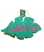 Hanging Cocktail Bar Sign Wood Leaf Shaped Plaque Printed Pink Letters 1... - $14.84