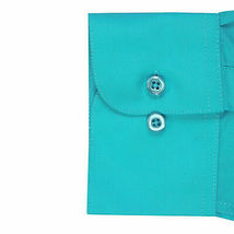 Omega Italy Men's Turquoise Dress Shirt Long Sleeve Solid Color Regular Fit - M image 4