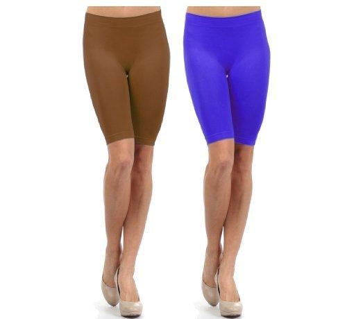 Fashion Mic Women Girls Seamless Slip Short (One Size, 2 pack: navy... - $10.88