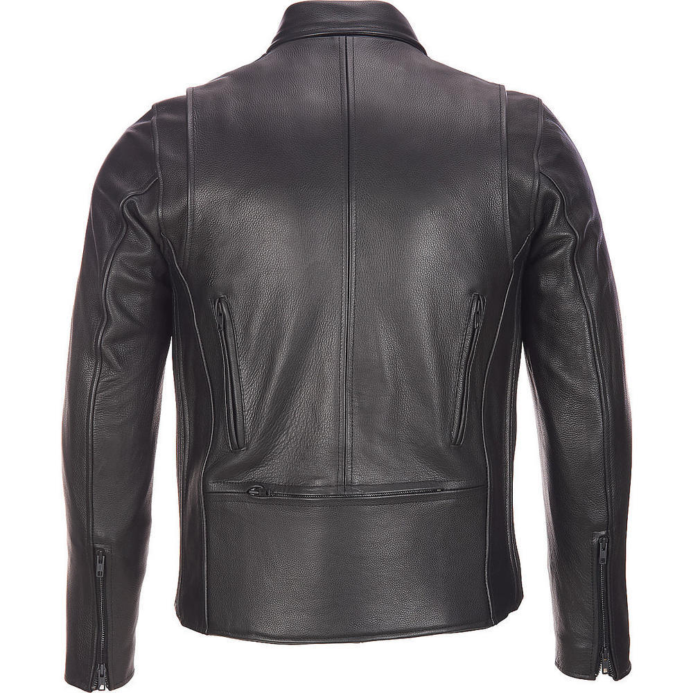 Mens black leather motorcycle jacket