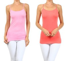 Fashion Mic Womens Basic Solid Color Nylon Cami Top (one size, 2pack:lpk... - $11.87