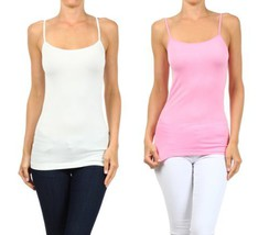Fashion Mic Womens Basic Solid Color Nylon Cami Top (one size, 2pack:wht... - $11.87