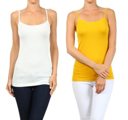 Fashion Mic Womens Basic Solid Color Nylon Cami Top (one size, 2pack:wht/mus) - $11.87