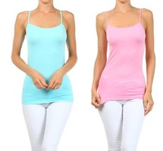 Fashion Mic Womens Basic Solid Color Nylon Cami Top (one size, 2pack:cbl... - $11.87