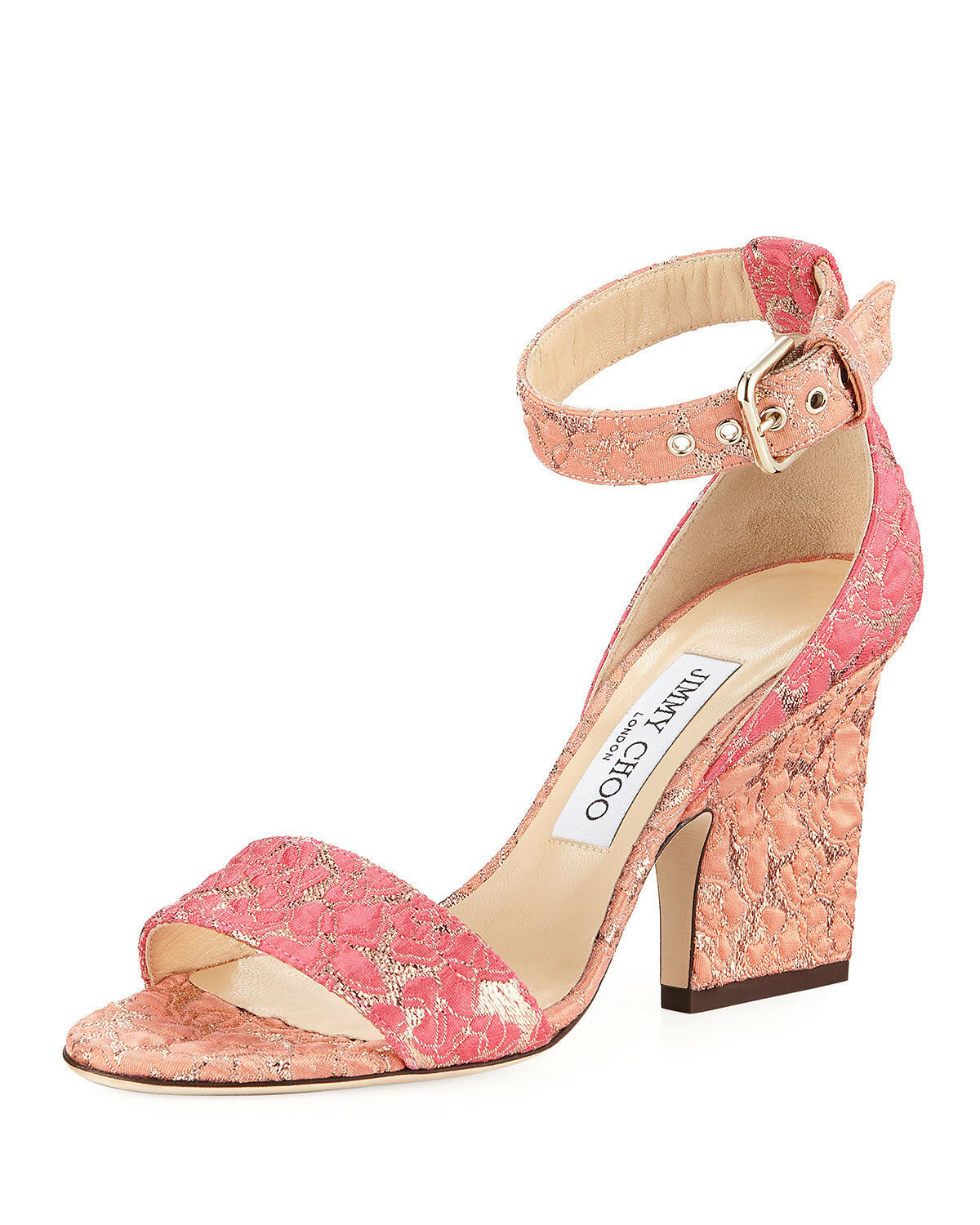 Primary image for Jimmy Choo Edina Floral Sandals, Flamingo Calypso MSRP: $695.00 Size 39