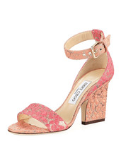 Jimmy Choo Edina Floral Sandals, Flamingo Calypso MSRP: $695.00 Size 39 - $470.25