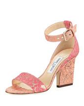 Jimmy Choo Edina Floral Sandals, Flamingo Calypso MSRP: $695.00 Size 39 - $470.25