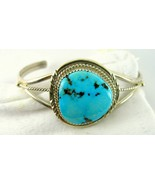 Classic Southwestern Artist Turquoise Triangle Sterling Silver Bangle Br... - $311.00