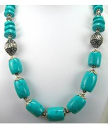 Traditional Tibetan Turquoise Barrel + Disk Silver Tone Strand Necklace ... - $187.00