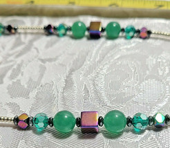 Rainbow Hematite Magnetic Cubes and Milky Green Glass Beaded Necklace      (#43) image 2
