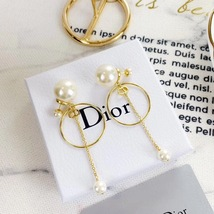 Authentic Christian Dior 2019 CD LOGO CIRCLE PEARL TRIBALES DANGLE DROP Earrings image 2