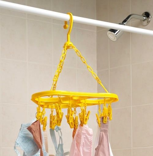 Clothes Drying Rack Laundry Hanger Air Dryer Bathroom Shower Rod Clips NEW - $20.78
