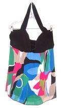 Sz 18/20 - Venezia Black & Multicolor Print Halter Top w/Sequin Accents - $23.74
