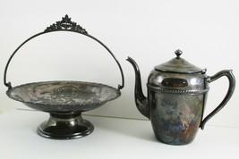 Antique FB Rogers Silverplate Copper Tea Coffee Pot Wedding Bouquet Bask... - $49.50