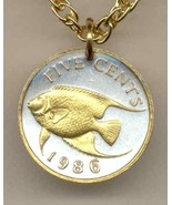 "Bermuda 5 cent ""Angel fish"" coin pendant & 14K necklace - $39.00"