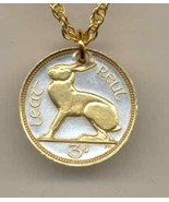 Ireland 3 pence 2-Toned Gold on Silver Coin Pendant Necklace - $46.00