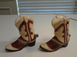 """Ceramic pair Cowboy Boots with Spurs Salt & Pepper Shakers 3.5"""" tall, Vi... - $8.75"""