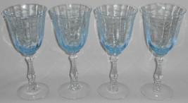 Set (4) Fostoria Glass ETCHED BLUE NAVARRE PATTERN 10 oz Water Goblet Stems - $237.59