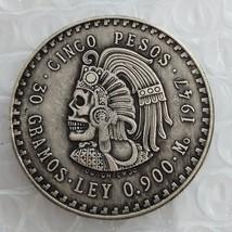 MEXICO Hobo 1947 Mexico 5 Pesos Silver Foreign Coin skull zombie skeleto... - $11.99