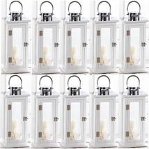 "10 Stylish Wood Lantern 16""Tall Large White Silver Top Candleholder Cent... - $334.62"