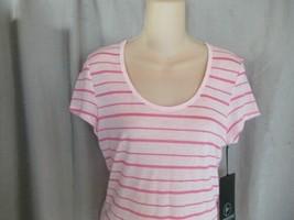 90 degree by Reflex top  Tee Sz M neon pink stripe scoop neck cap sleeve... - $9.75
