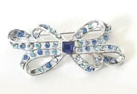 VTG Signed LC Liz Claiborne Silver Tone Bow Ribbon Brooch Pin Blue Rhinestones - $18.76