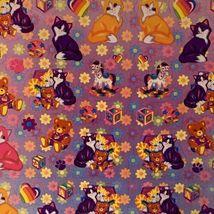 LEGIT VINTAGE Lisa Frank Sticker Sheet S722 Kitties & Teddy Bears & Blocks image 3
